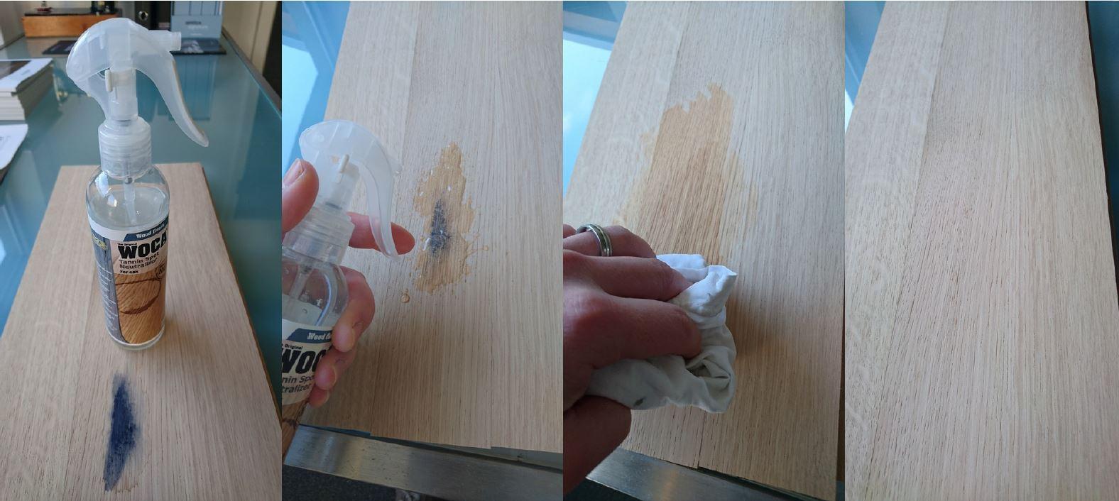 Gerbsäure-Fleckenspray-Versuch